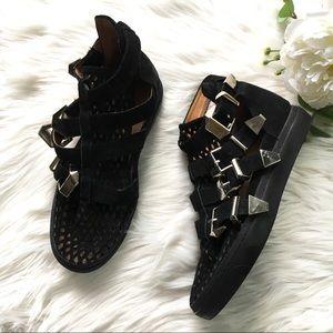 Jeffrey Campbell Indie Hi Black Leather Sneakers